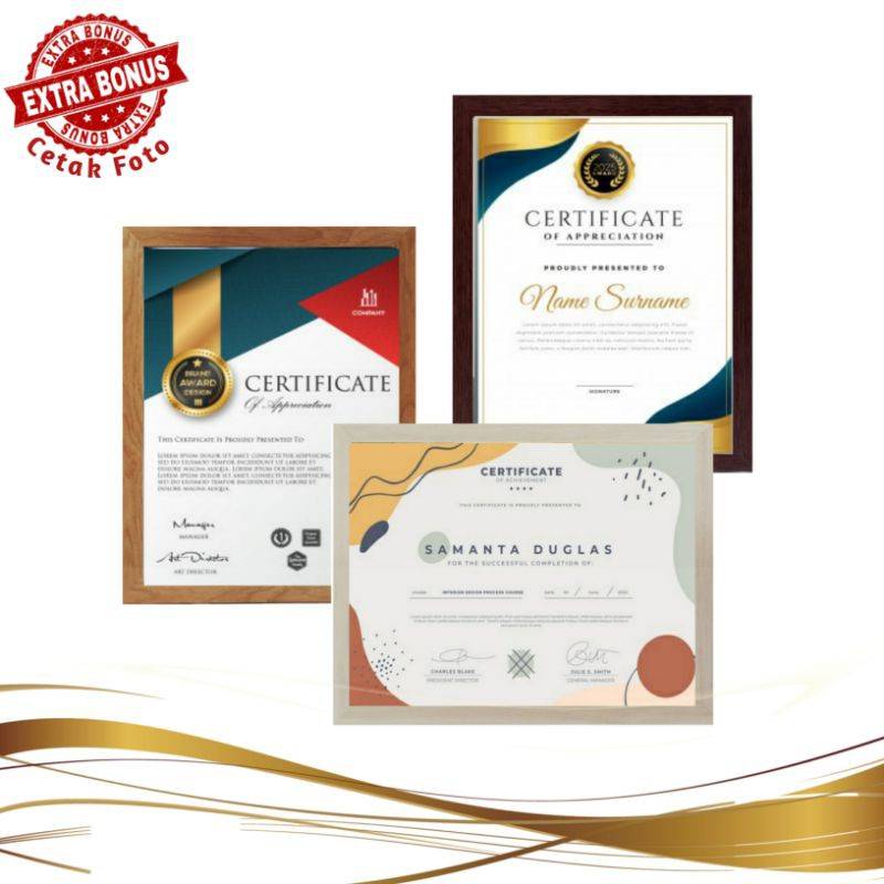 Bingkai Sertifikat A4 Bingkai Piagam Penghargaan A4 Frame Foto A4 Bingkai Ijazah 21x30 Cm Shopee Indonesia