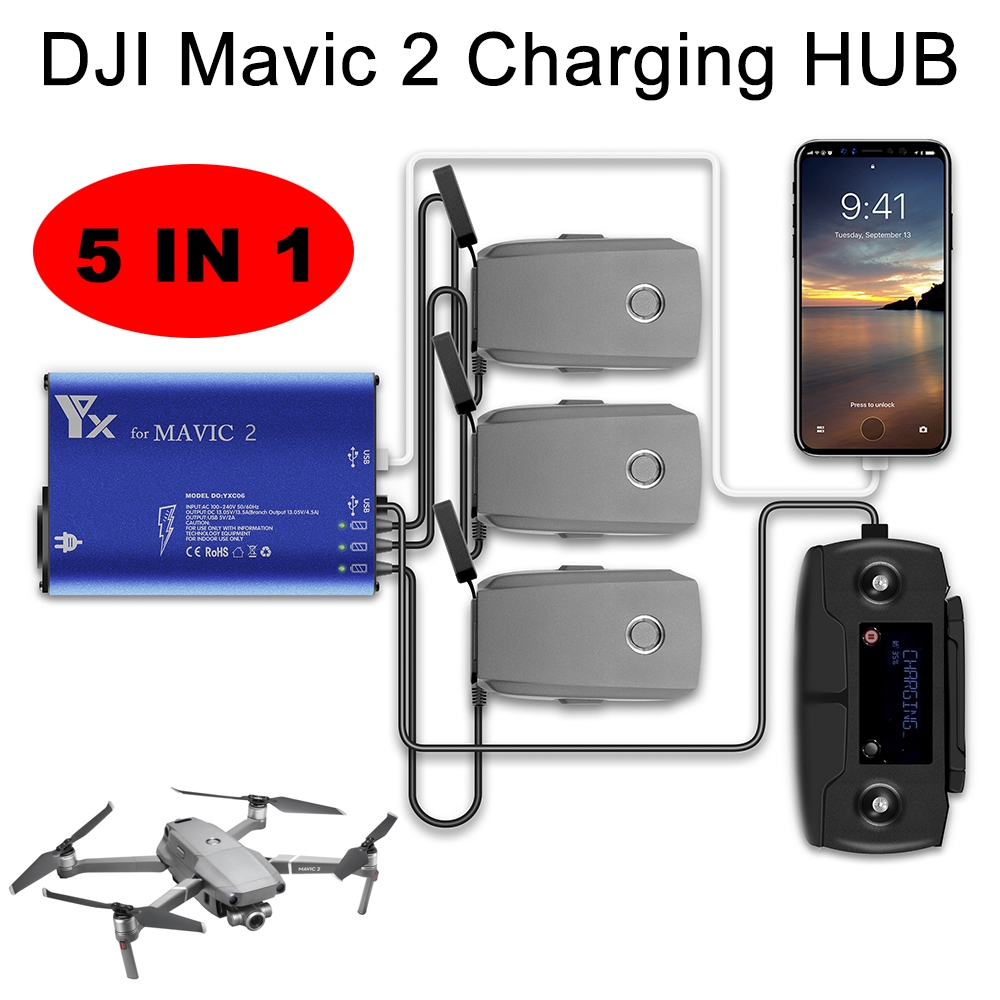 5 in 1 Smart Charger for DJI Mavic 2 Pro  Drone Batteries Remote Controller