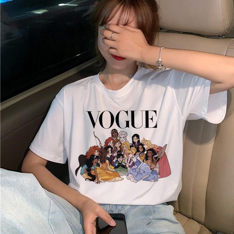 Kaos T Shirt Wanita Dengan Model Potongan Longgar Dan Gambar Kartun Bergaya Harajuku Korea