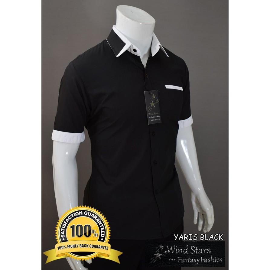 Kemeja Pria Lengan Pendek Model Slimfit YARIS Warna Black/Hitam Casual Keren High Quality | Shopee Indonesia
