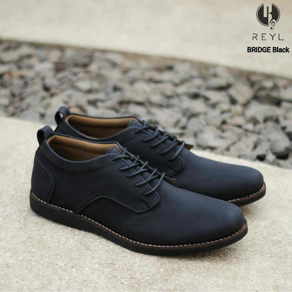 Bridge Black Reyl Sepatu Vintage Kulit Pantofel Formal Kerja Kantor Pria Cowok Original Footwear Shopee Indonesia