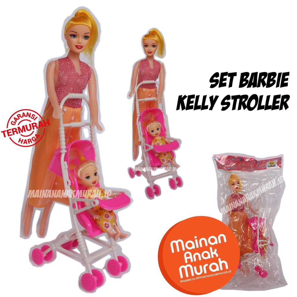 Mainan Boneka Barbie Set Kelly Stroller / Aksesoris Mini Trolley Kereta  Dorong Dorongan Ibu Bayi