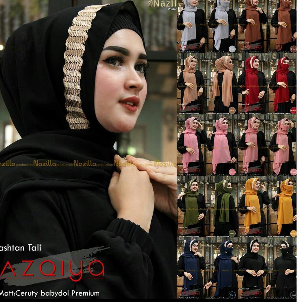 Hijab Pasmina  AZQIYA Free Masker Terbaru 2021 - Krudung Instant Payet Renda ORY Nazilla Teraris (AR