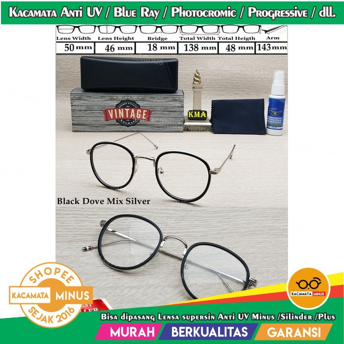Diskon Frame Kacamata Korea Wanita Bulat 6172 + Lensa Minus Plus  Antiradiasi Komputer Uv Hp  3739d16567