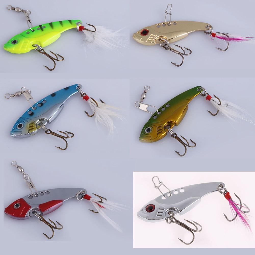 6 Colors Metal Spoon Fishing Lure Crankbait Bass Crank Bait Treble Hook NEW