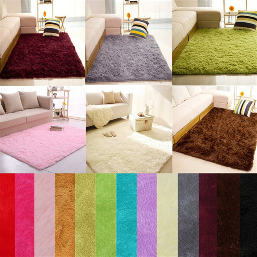 Soft Fluffy Rugs Anti Skid Shaggy Area Rug Dining Room Home Bedroom Carpet Floor Shopee Indonesia