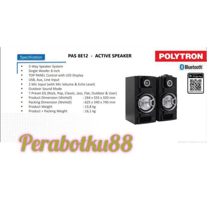 PROMO POLYTRON SPEAKER AUDIO PAS 8E12 PAS8E12 USB BLUETOOTH