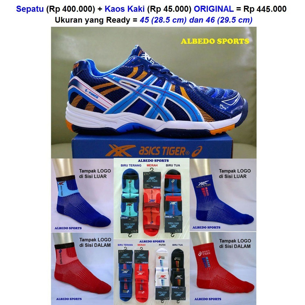Produk asli ASICS TIGER Merek DUNIA kelas MIZUNO G FORCE Sepatu Volley Voli  Volly Blue  207f273b4b