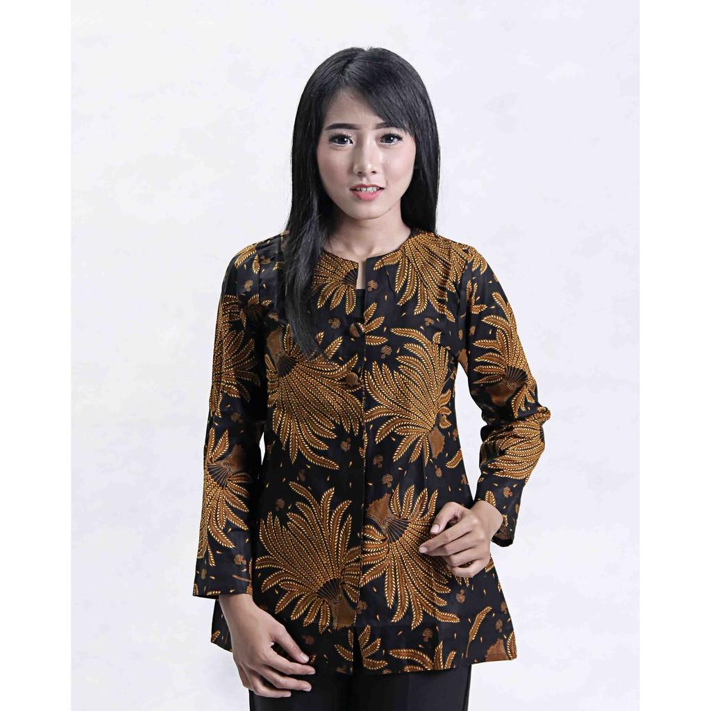 Download Baju Batik Wanita: ATASAN BATIK WANITA MOTIF PADI SOGAN SERAGAM BATIK BAJU