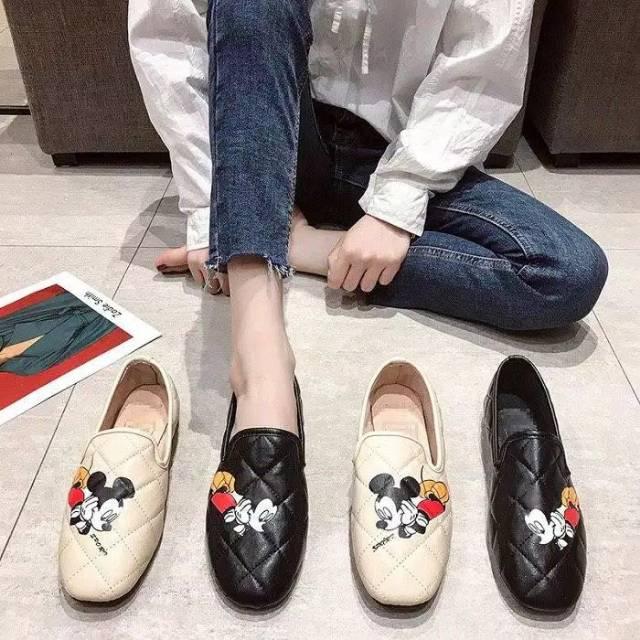 Sepatu Mickey Loafer Zara Slip On Mickey Mouse Sepatu Flat
