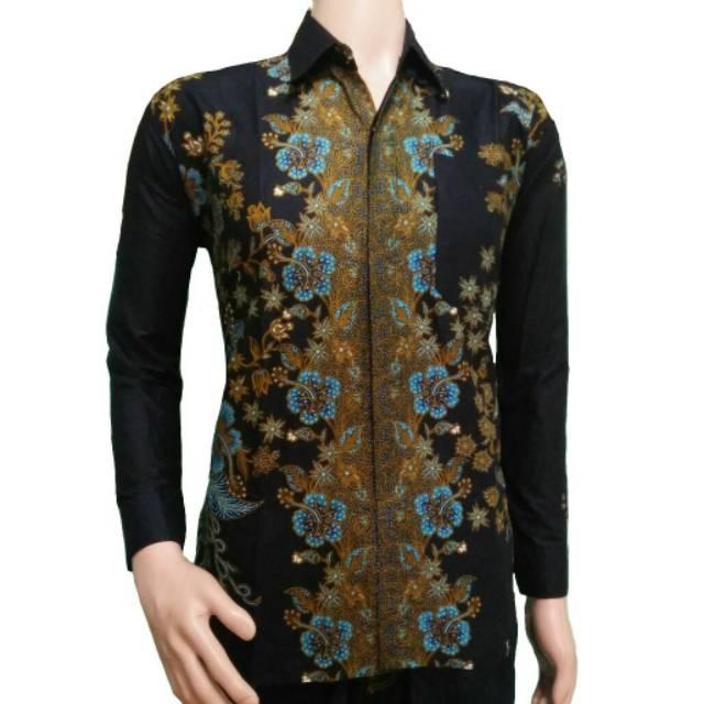 Kemeja Batik Lengan Panjang Kombinasi Baju Pria Kemeja Kantor Seragam Batik Batik Solo Batik Jogja