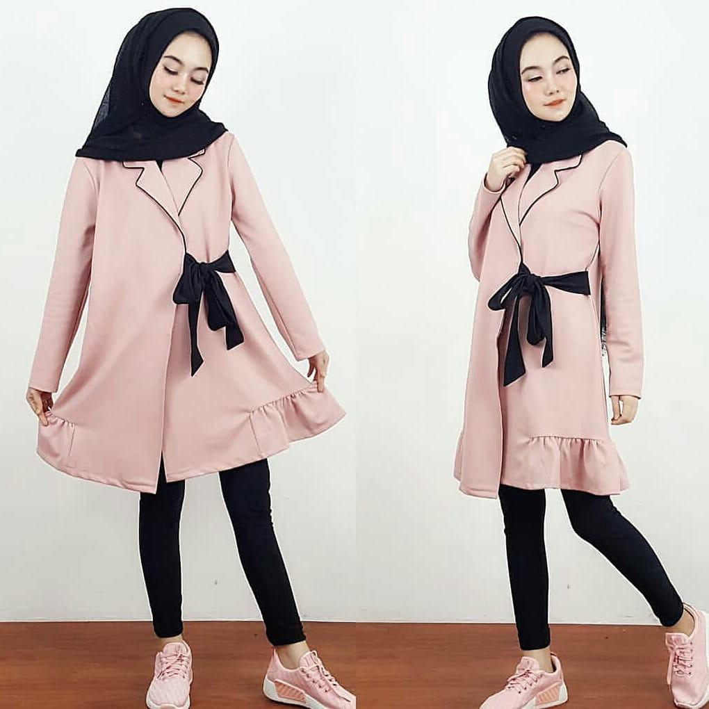 Fatiya Kimono Shopee Indonesia Asymmetric Cardigan Kardigan Jaket Wanita Jk435