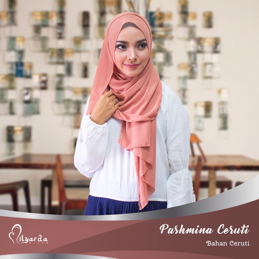 Milyarda Hijab pashmina ceruti baby doll/ kerudung pasmina /jilbab syari | Shopee Indonesia