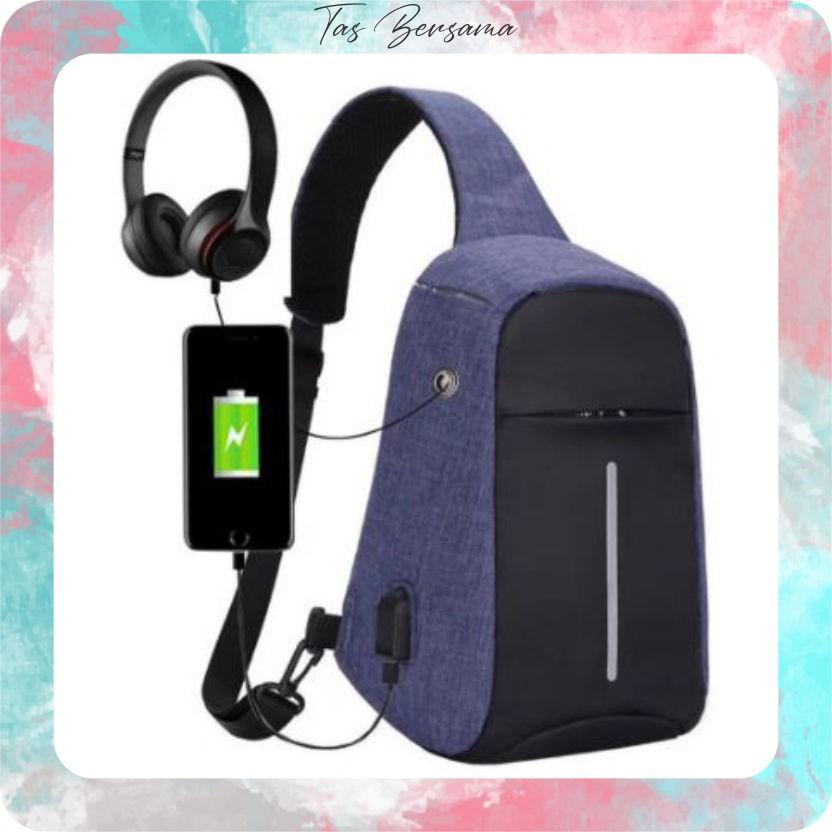TB 91 Tas Selempang Anti Maling / Smart Bag Anti Theft USB Port Charging