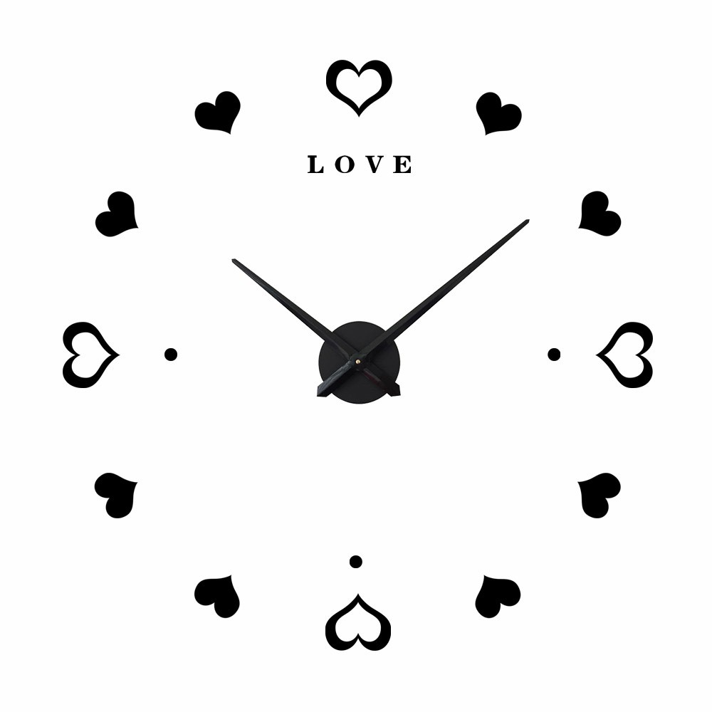 Home Decorative Mirror Wall Clock Heart Design Wall Art Clocks Sticker For Hotel Shopee Indonesia