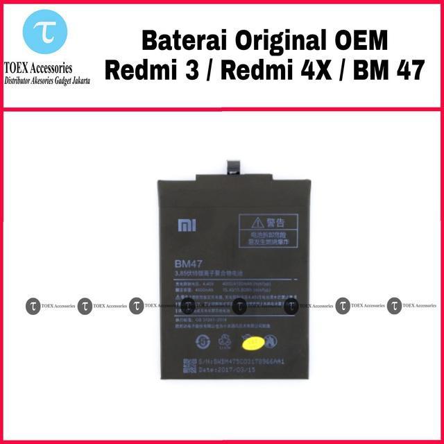 Baterai Xiaomi Redmi 4X / Redmi 3 3S BM47 Original - Battery Batre BM 47