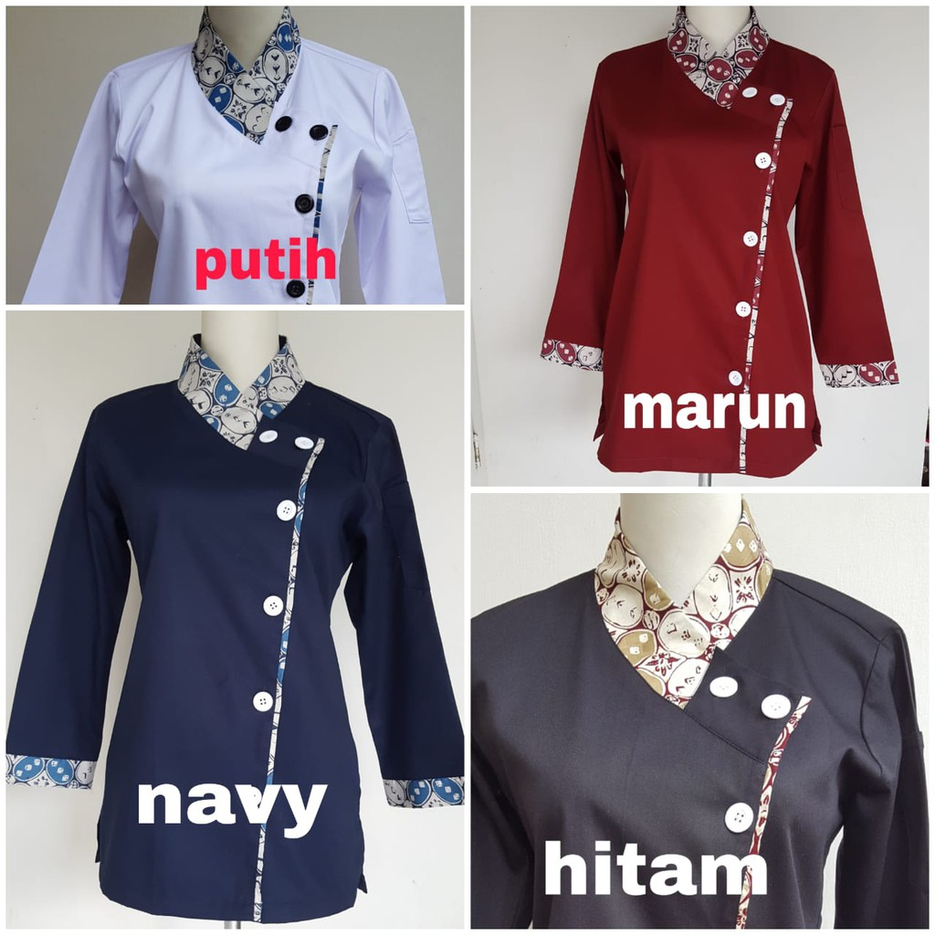 Baju Chef Wanita Kombinasi Batik