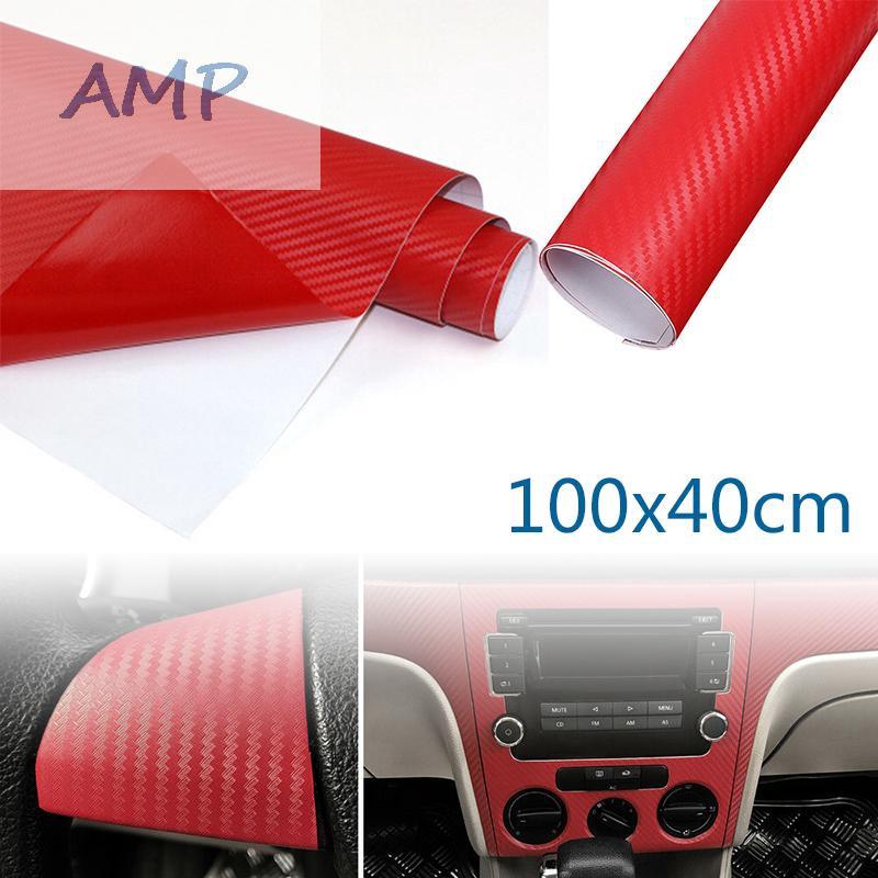 Red Carbon Fiber Vinyl Wrap Sticker Auto Interior Accessorie Console Dashboard