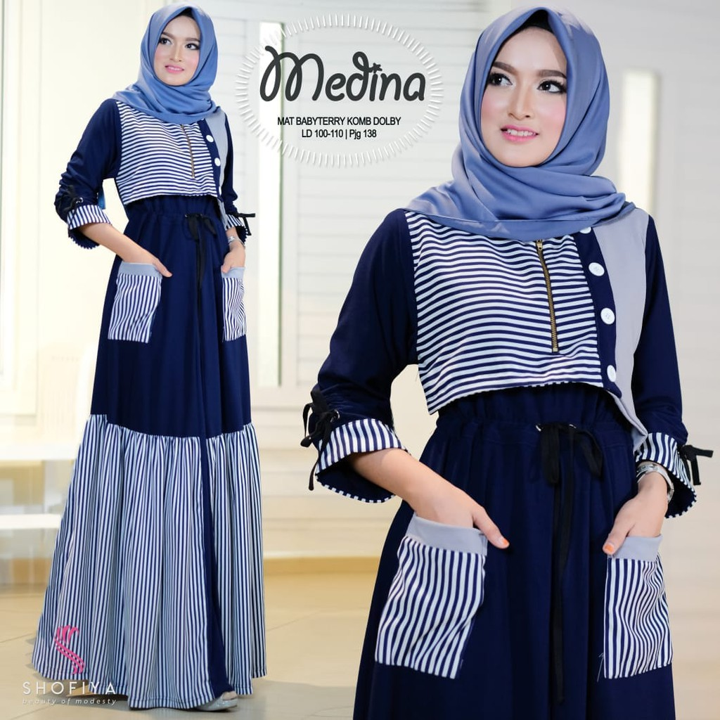 Vienna Dress By Shofiya Gamis Shopee Indonesia Baju Muslim Wanita Cewek Hijaber Maxy Maxi Long Veana Limited
