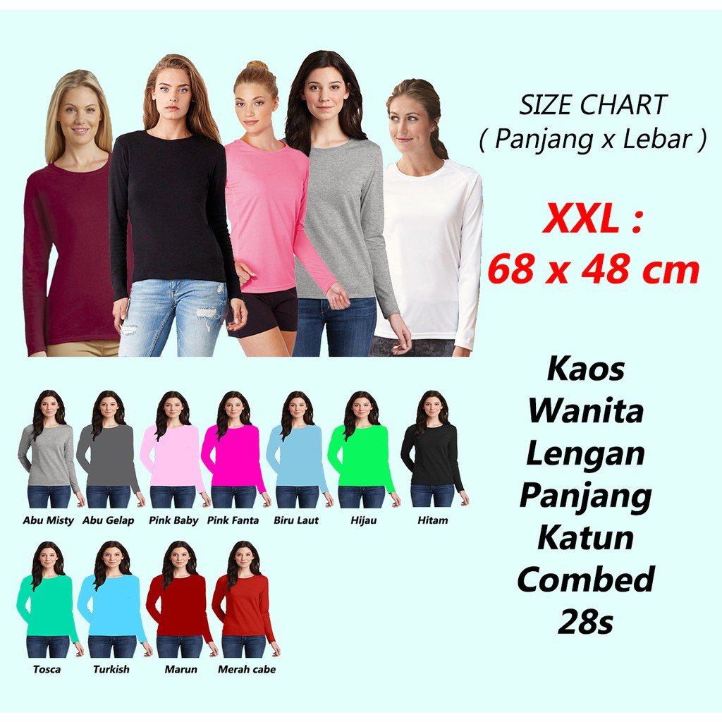 Baju Kaos Polos Maroon Misty Lengan Panjang Cotton Combed Shopee Mutif M133 Atasan Dewasa Hitam Abu Indonesia