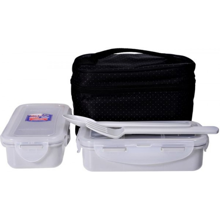 Promo LOCK&LOCK Lunch Box Set 3P Clover Bag Ivory HPL754CIS | Shopee Indonesia