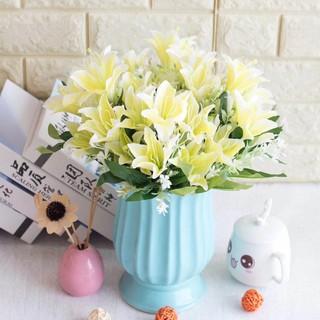 bunga lily 735 1 tangkai -+ 6 pc bunga plastik bunga palsu