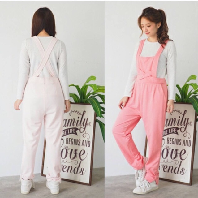 Setelan Overall Jumpsuit Pastel celana kodok Wanita Cewek Grosir Murah  Panjang kaos tshirt atasan  8fb8a54926