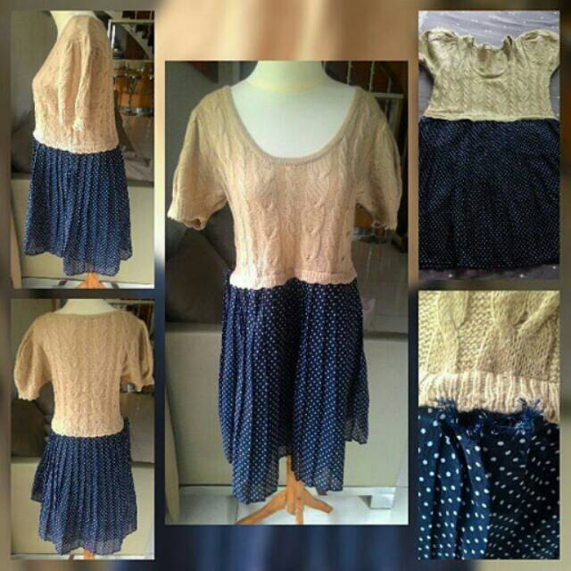 Blouse mini dress atasan wanita knit rajut brown coklat muda sifon biru blue polkadot polka import | Shopee Indonesia