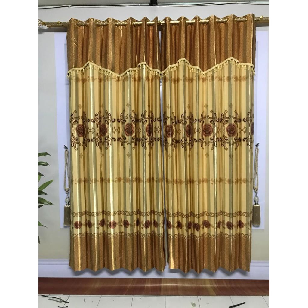 TERMURAH - Gorden Blackout Minimalis Motif Mawar Emas 12 Ring Poni Hias - Kode 7100 Gold | Shopee Indonesia
