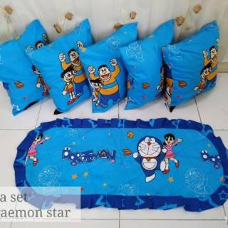 Taplak Meja Ruang Tamu Shabby Minimalis Set Sarung Bantal Sofa Karakter Doraemon
