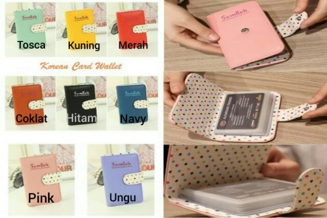 PREMIUM Korean Card Wallet 26 Slot /Dompet Kartu ATM/credit card OR 92-01 BLINK - PinK | Shopee Indonesia