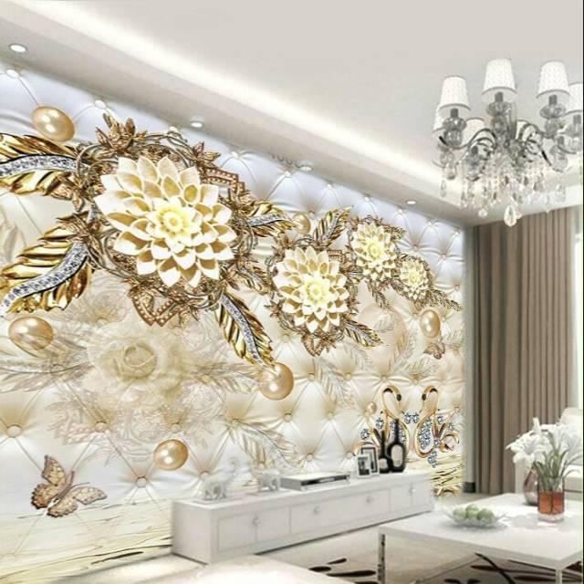 Wallpaper 3d Motif Bunga Gold Shopee Indonesia