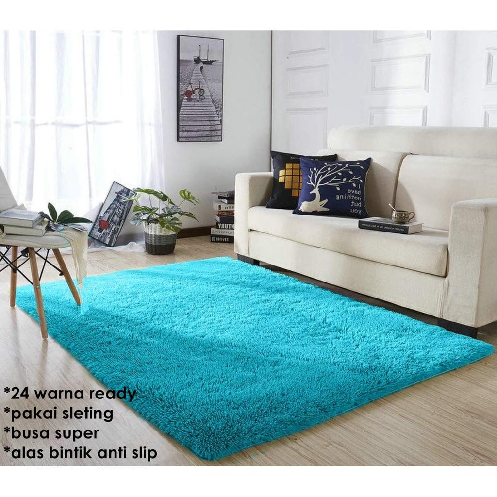Karpet busa kain bulu rasfur ukuran 200x150 tebal