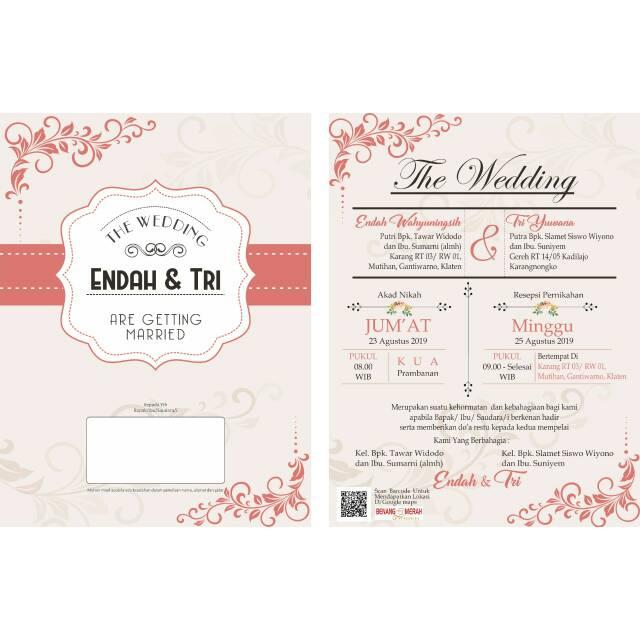 Undangan Pernikahan Custom 1lembar Bolak Balik Shopee Indonesia