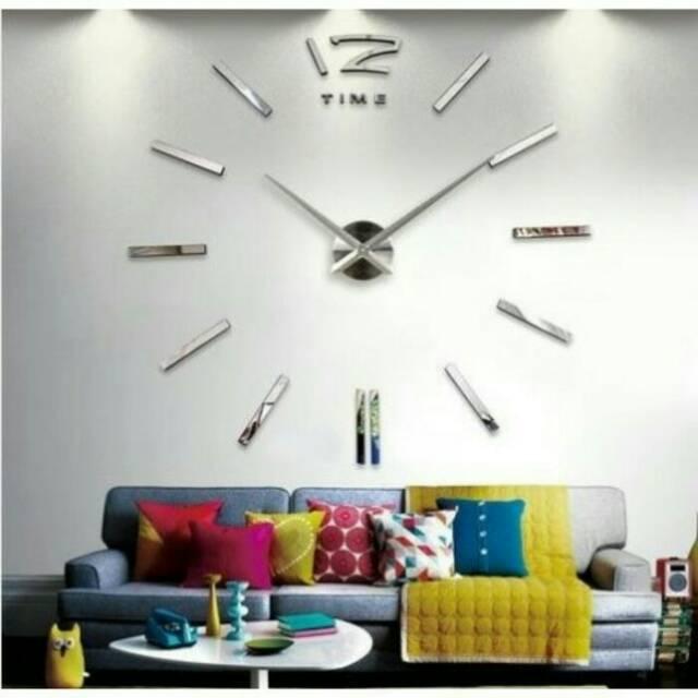 DIY Giant Wall Clock 30-60cm Diameter   Jam Dinding - Silver ... 74ba115c35