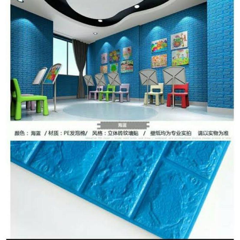 Wallpaper foam bata biru, 3D