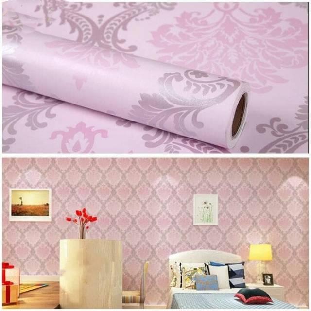 Wallpaper Dinding Murah Ruang Tamu Rumah Kamar Tidur Batik Pink Silver Terbagus Terlaris Minimalis