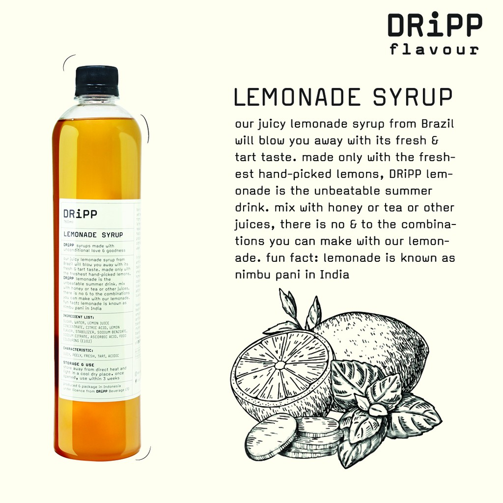 Dripp Lemonade Syrup Sirup Lemon Shopee Indonesia