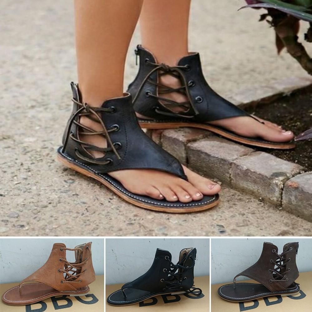 844db6b2e9e2  Bayar Di Tempat Fashion Gladiator Casual Sandals wanita Summer Flat Rome  Sepatu