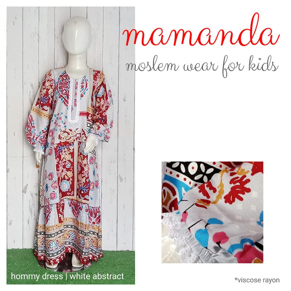 Gamis Anak White Abstract Hommy Dress by Mamanda