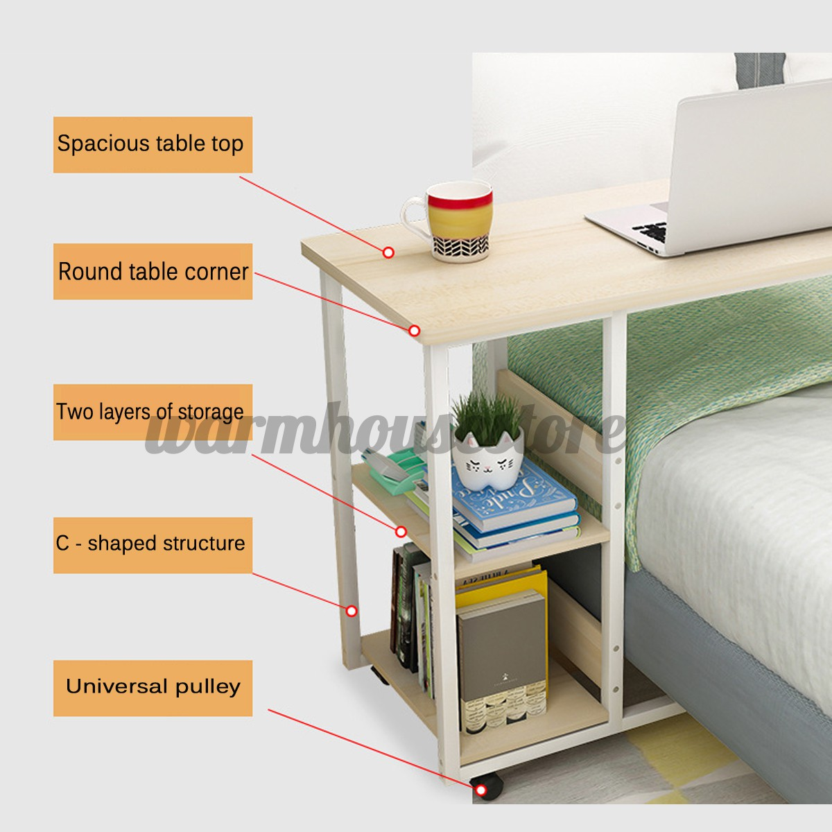 Mobile Rolling Computer Desk Small Space Saver Desk Laptop Pc Printer Table Home Shopee Indonesia
