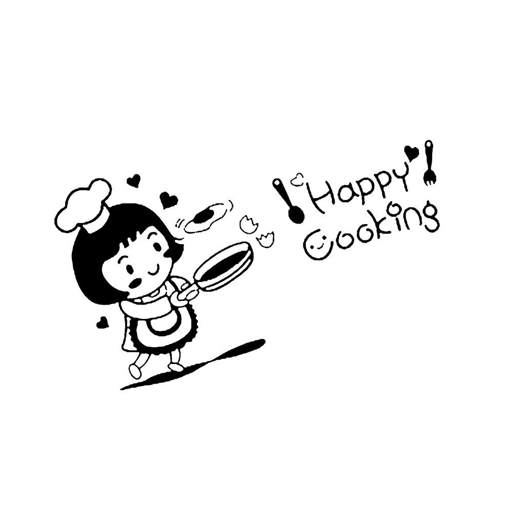 Happy Cooking Wall Art Sticker Removable PVC Cartoon Wall Tattoo Decal Wallpaper