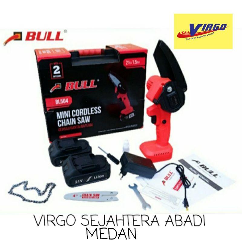 "BULL BL504 MINI CHAINSAW SENSO CORDLESS 4"" 21V GERGAJI RANTAI BATERAI 1.5AH"