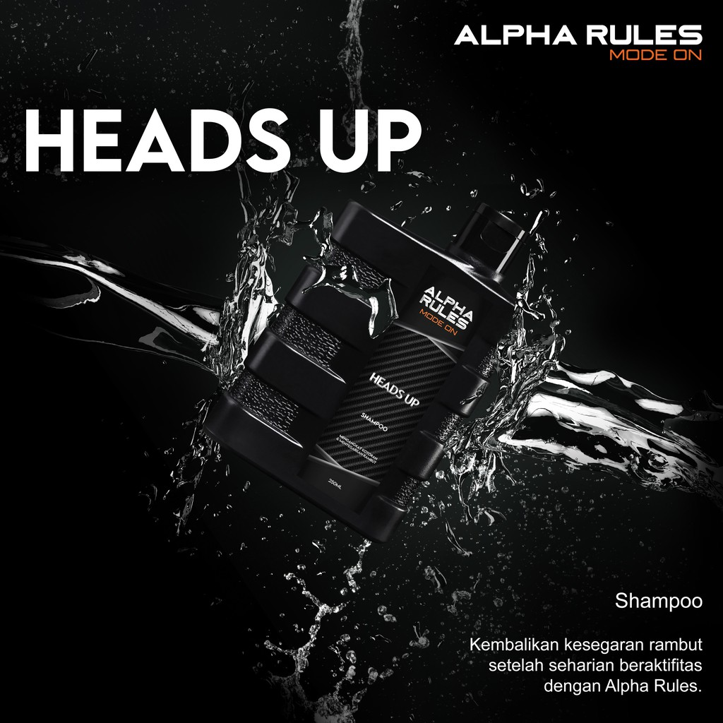 ORIGINAL Alpha Rules Heads Up 250 ml Shampo rambut anti ketombe pria bersih-2