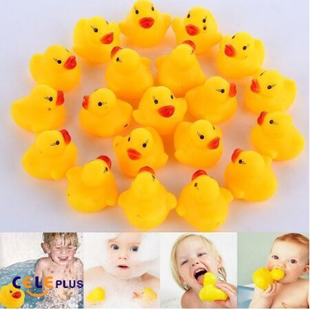 Assorted Color 10pcs Rubber Cute Ducks Fun Bath Toys for Baby Kids