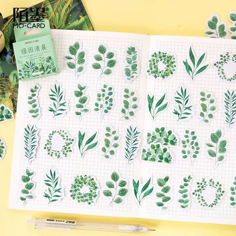 Shima Stiker Tanaman Hijau Untuk Scrapbook Stiker Aesthetic Shopee Indonesia