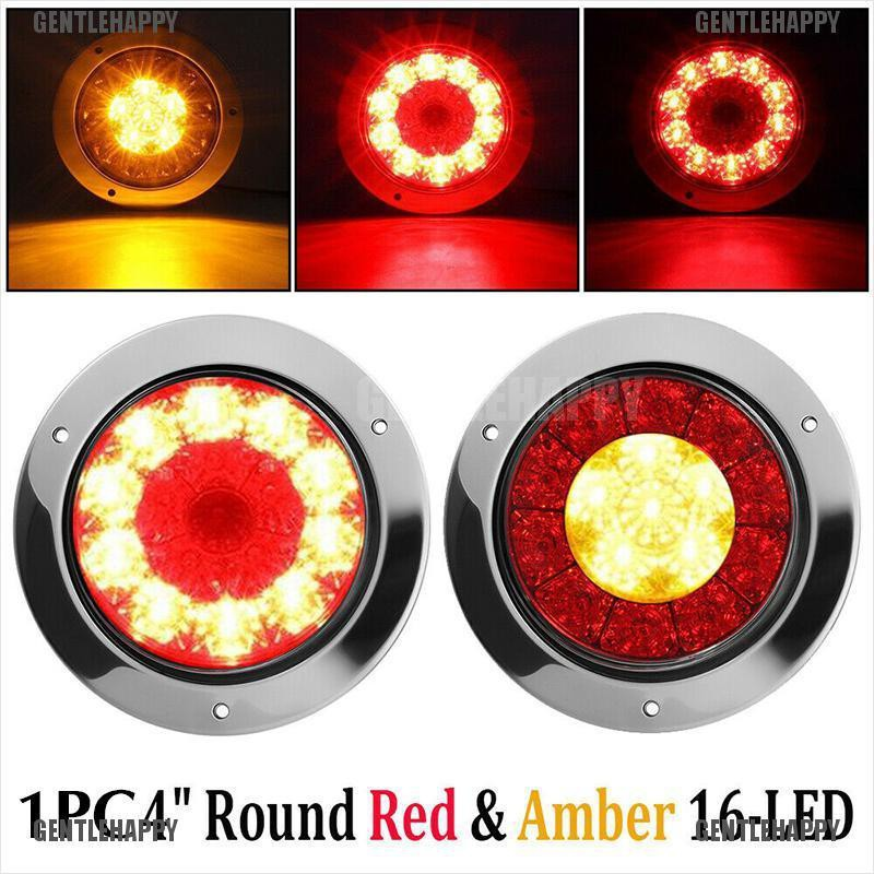 Led Truck Tail Lights >> Gentle 1x 4 Round Red Amber 16 Led Truck Trailer Brake Stop Turn Signal Tail Lights Happy