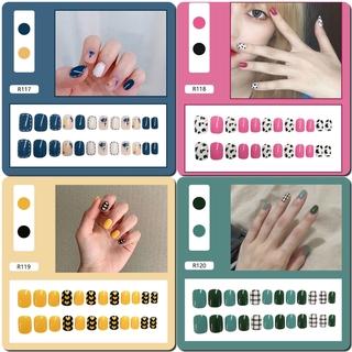 24pcs Kuku Palsu Lucu Dengan Lem Untuk Manicure R0102-R120 6