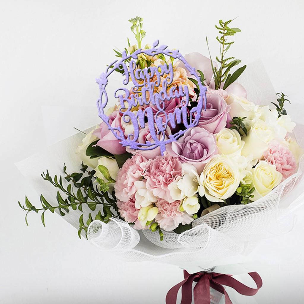 Fancy Bouquet Coloured Acrylic Topper Topper Ucapan Untuk Hadiah Buket Bunga Shopee Indonesia