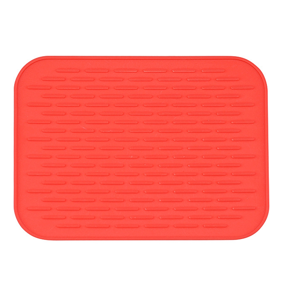 Kitchen Unique Rectangular Silicone Drying Trivet Mat Pot Holder Flexible Orange